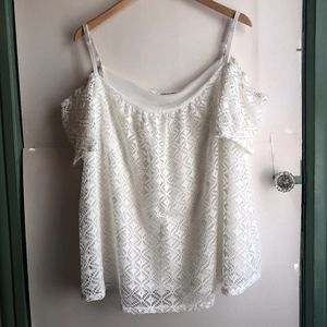 MAURICES 2 Cream Ivory Mesh Lace Cold Shoulder Top